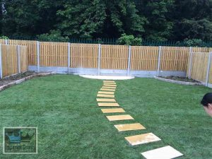 Lawn with Garden Slabbed Pathway