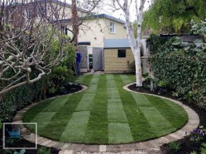 Garden Area With Pathway Curved Using Flagstones